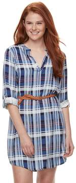 Almost Famous Juniors' Roll-Tab Shirt Dress