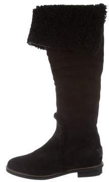 Fendi Shearling-Trimmed Knee-High Boots