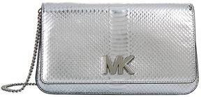 Michael Kors Large Mott Snakeskin Embossed Clutch - SILVER - STYLE