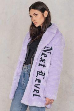 NA-KD Faux Fur Embroidery Coat