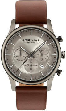 Kenneth Cole New York Men's Light Brown Leather Strap Watch 42mm KC15106001