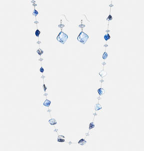 Avenue Blue Shell Necklace Earring Set