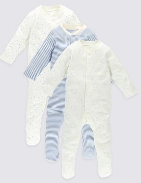 Marks and Spencer 3 Pack Long Sleeve Pure Cotton Sleepsuits