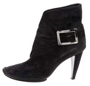 Roger Vivier Suede Round-Toe Ankle Boots