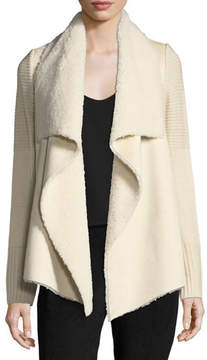 Bagatelle Faux-Shearling Knit-Trim Jacket