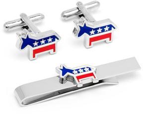 Ice Democratic Donkey Cufflinks and Tie Bar Gift Set