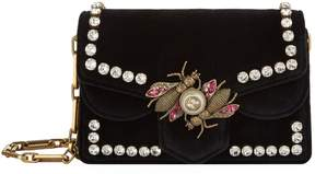 Gucci Velvet Embellished Shoulder Bag - BLACK - STYLE