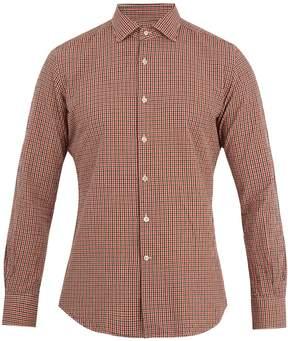 Glanshirt Spread-collar micro-checked cotton shirt
