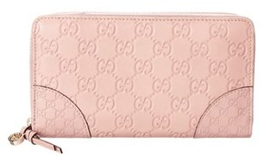 Gucci Guccissima Leather Zip Around Wallet. - LIGHT PINK - STYLE