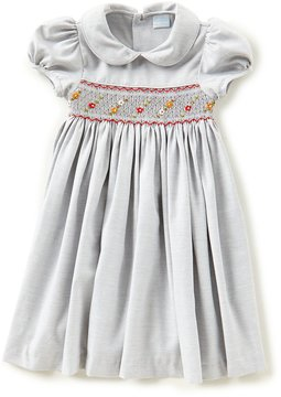 Edgehill Collection Little Girls 2T-4T Solid Smocked Peter Pan Collar Dress