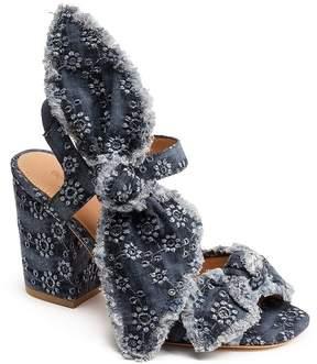 Bill Blass Carmen 90 Denim Bow Detail Block Heel Sandals