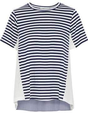 Clu Open Knit-Paneled Striped Stretch-Jersey T-Shirt