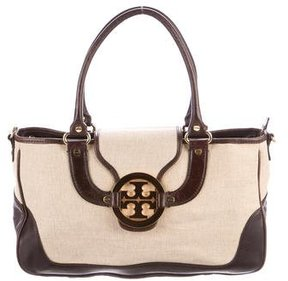 Tory Burch Leather-Trimmed Amanda Satchel - NEUTRALS - STYLE