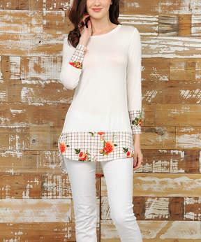 Celeste Ivory & Taupe Floral Hem-Accent Tunic - Women