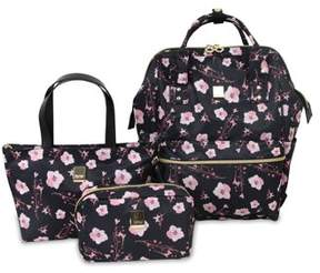J World JWorld Posy Backpack With Travel Tote And Pouch, Pink Bloom