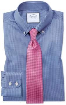 Charles Tyrwhitt Slim Fit Button-Down Non-Iron Twill Puppytooth Royal Blue Cotton Dress Shirt Single Cuff Size 15/33