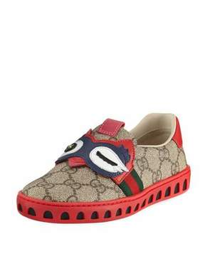 Gucci GG Supreme Canvas Sneaker w/ Owl Face, Youth