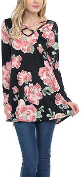 Celeste Black Floral Crisscross Tunic - Women