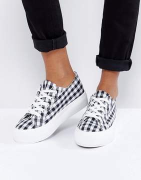 New Look Gingham Flatform Lace Up Sneaker