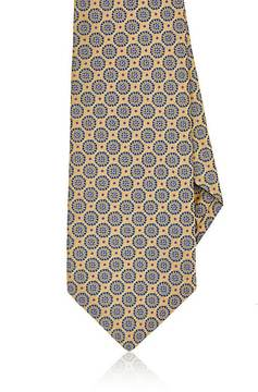 Kiton Men's Medallion- & Dot-Pattern Silk Necktie