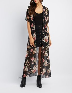 Charlotte Russe Floral Tie-Front Duster Kimono