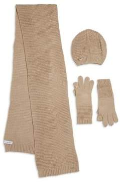 Calvin Klein Three-Piece Waffle Knitted Scarf, Beanie, And Gloves Gift Set