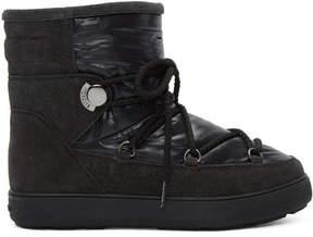 Moncler Black Glitter Suede Fanny Boots