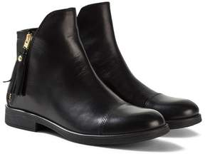 Geox JR Agata Black Leather Ankle Boots