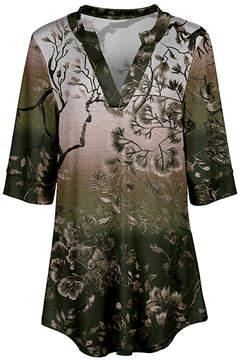 Azalea Olive & Cream Tree V-Neck Tunic - Women & Plus
