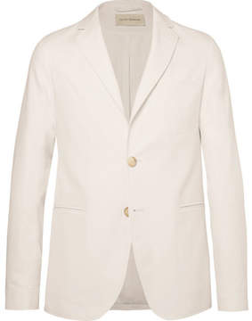 Oliver Spencer Theobald Unstructured Herringbone Cotton Blazer