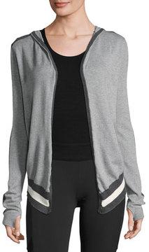 Blanc Noir Silk-Cotton Striped Wrap Cardigan with Hood, Gray