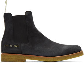 Common Projects Black Waxed Suede Chelsea Boots