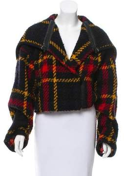 Barbara Bui Leather-Trimmed Wool Jacket