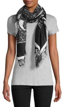 McQ Fray-Trimmed Graphic Scarf
