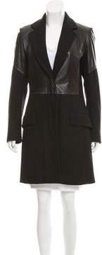 Dries Van Noten Leather Paneled Wool Coat