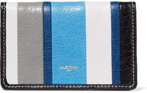 Balenciaga - Bazar Striped Glossed Textured-leather Wallet - Blue