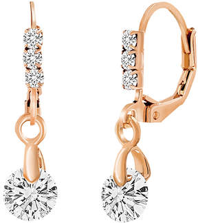 Bliss Cubic Zirconia & 18k Rose Gold-Plated Round-Cut Drop Earrings