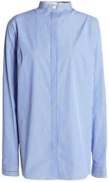 Dion Lee Ruched Cutout Striped Stretch Cotton-Poplin Shirt