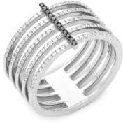 Ef Collection Black Diamond and 14K White Gold Bar Spiral Ring, 0.32 TCW