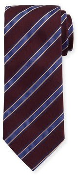 Eton Woven Twill Stripe Silk Tie, Burgundy/Blue