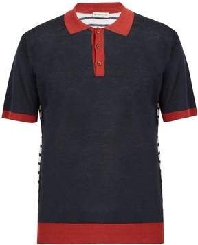 Etro Tri-colour linen polo shirt