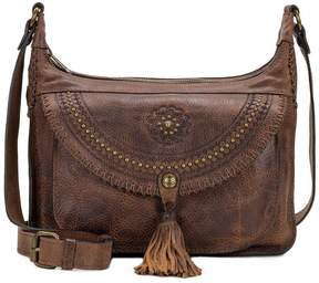Patricia Nash Distressed Vintage Collection Camilia Studded Tasseled Square Hobo Bag