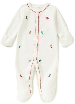 Starting Out Baby Girls Newborn-9 Months Christmas Embroidered Footed Coverall