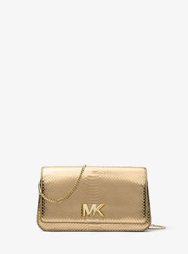Michael Kors Mott Large Metallic Embossed-Leather Clutch - GOLD - STYLE