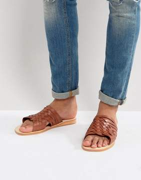 Dune Woven Sandals In Tan Leather