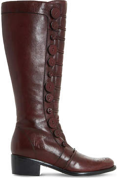 Dune Ladies Burgundy Traditional Pixie D Button Leather Knee-High Boots