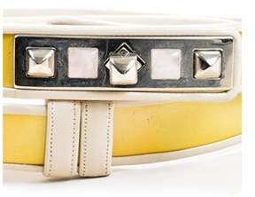 Judith Leiber Pre-owned Cream Gold Tone Leather Patent Trim Studded Belt.