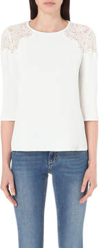 Claudie Pierlot Biche crepe and lace top