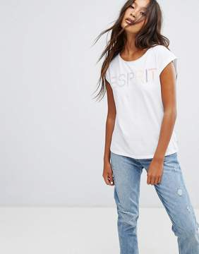 Esprit Pastel Slogan T-Shirt