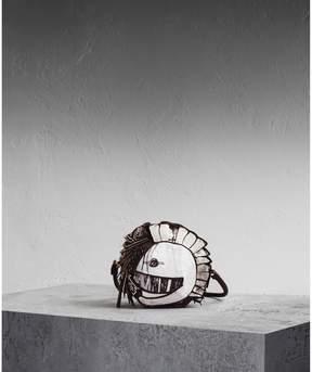 Burberry Leather and Snakeskin Pallas Helmet Shoulder Bag - BLACK/WHITE - STYLE